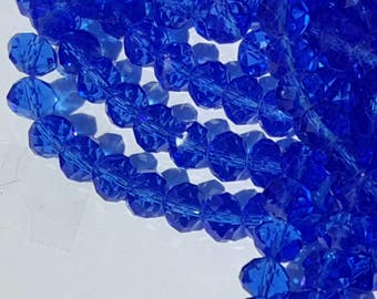 10mm Glass Beads - 30 pcs - 10mm Blue Beads - Faceted Glass Beads - 10mm x 7mm - Rondelles - Blue Faceted Beads