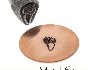 Paw Print Critter Raccoon Metal Design Jewelry Stamp Tool for use with soft metals made of hardened tool steel