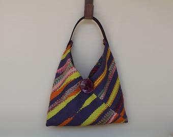 Handwoven Saori style Shoulder Bag