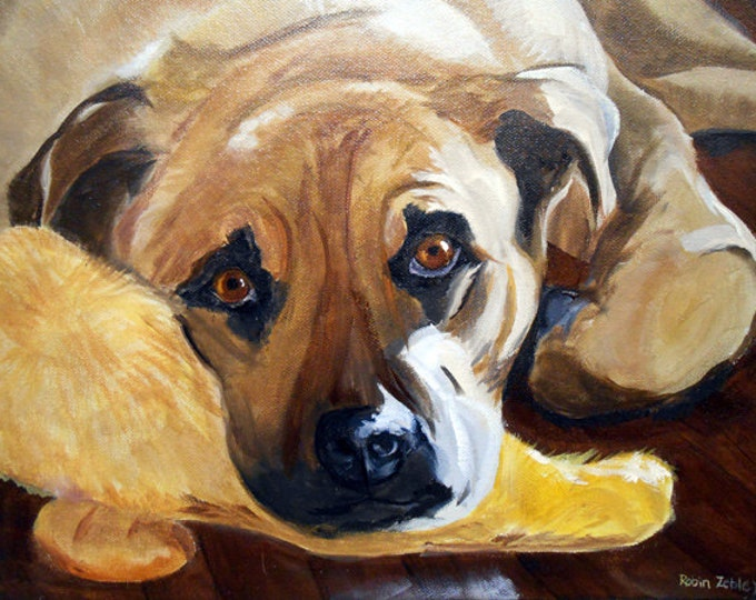 Original Pet Portrait Painting, Oils on Canvas by Artist Robin Zebley