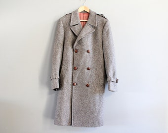 Classic Irish Oatmeal Brown Tweed Pure Wool Long Coat Double Breasted Coat Vintage 80s Size M - L #O135A