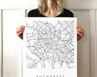 BUCHAREST Map Street Map ROMANIA City Map Drawing Black and White (Art Print) Wedding Anniversary Gift Travel Poster Wall Decor