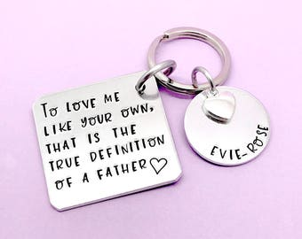 Step dad Gift, Step Father Gift, Step Dad Keyring, Personalised Gift For Step Dad, Fathers Day Gift, Thank You Dad, Stamped Keyring Keychain