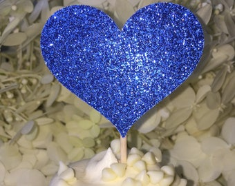12 Cupcake Toppers Wedding Cake Decorations Food Picks Royal Blue Wedding Cake Decorations