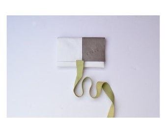 PISTACHIO Minimal leather clutch