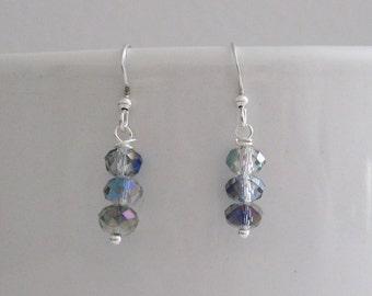 Sparkling Grey Aurora Borealis Dangle Bar Pierced Handmade Earrings