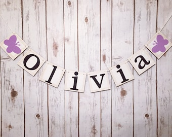 Personalized Name Banner, Butterfly name banner, butterfly bame sign, custom name banner, baby shower decor, baby shower banner