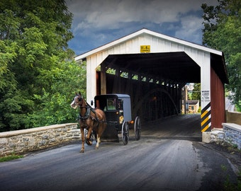 Amish Horse and Buggy with Covered Wooden Bridge in Rural Lancaster County Pennsylvania No.0175 - A Fine Art Country Landscape Photograph