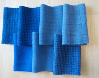 Medium Blue Hand Dyed Felted Wool Fabric Bundle Perfect for Quilting, Sewing, Wool Applique, Rug Hooking by Quilting Acres