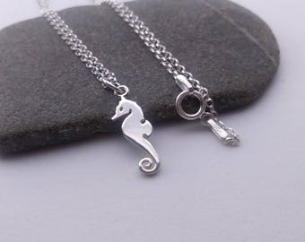Seahorse Necklace - 925 Sterling Silver Sea horse Charm Necklace - Ocean Jewelry - Beach Charm - Flat