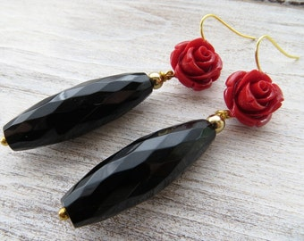 Black agate earrings, red rose earrings, drop earrings, uk dangle earrings,  bridesmaid jewellery, gemstone jewelry, floral jewels, gioielli