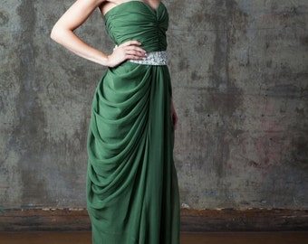 Green Evening Gown / Dress with beaded belt