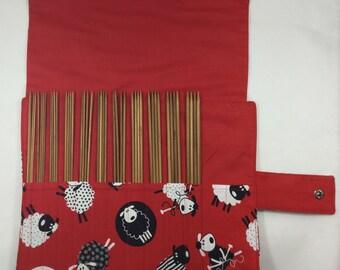 Double pointed case, sheep DPN Case, DPN and case, needles in case, knitting needle roll, needle organiser, sock needle case, needle set