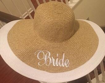 New Bride Gift - Just Married Hat  - Wide Brim Floppy Sun Hat - Summer Wedding - Destination Wedding