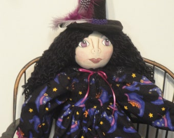 Witch Halloween art doll purple black witch cloth art doll handmade gothic doll for Halloween by Morning Mist Designs