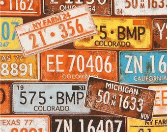 216425 oxford fabric with license plate by Kokka