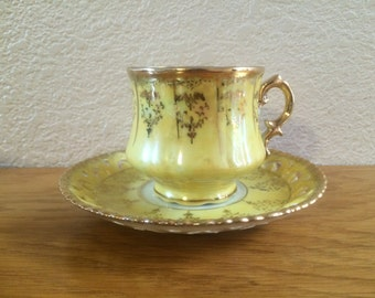 LUSTERWARE TEA SET,  Opalecent Canary Yellow Tea Cup and Saucer, Pearl Pale Yellow Tea Set