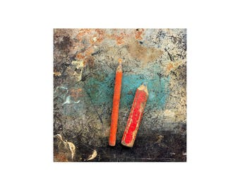 Two Red Pencils, Rustic Photography, Scratched Bench, Memories, Texture