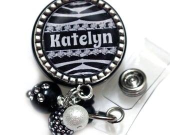 Custom Name ID Badge Reel, Zebra Print ID Name Badge, Custom Name Badge Gift