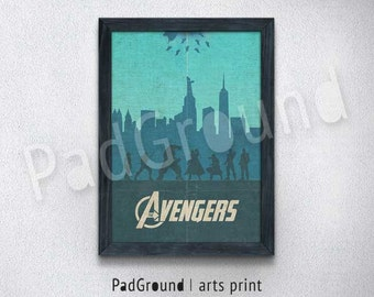 Avengers Print, Superhero Print, Movie Poster, Home Decor, Kids Decor, Christmas Gifts, Burlap Prints with Frame - SP02
