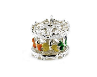 Sterling Silver Movable Carousel Charm For Bracelets