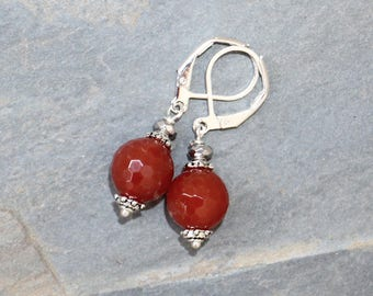 Carnelian Earrings,  Orange Earrings, Natural Stone Earrings, Orange Gemstone Earrings, Carnelian Jewelry, Teardrop Earrings, For Her