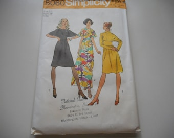 Vintage 1970's Simplicity 5060 Dress Sewing Pattern Size 12 Bust 34