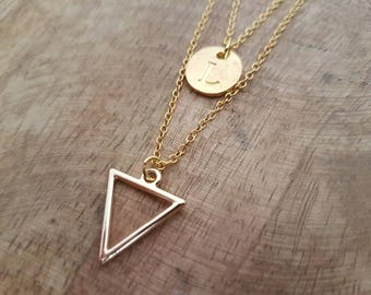 Name chain triangle double Row Gold