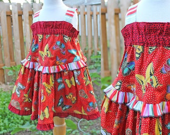 Sparkling Butterfly Girls Dress Little Girls Sundress Girl Red Dress Colorful Butterfly Birthday Cotton Summer Girl Clothes Toddler - Tween