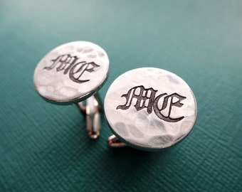 Personalized Cufflinks - Initials - Old English - Hammered Weathered Texture