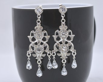Crystal Wedding Earrings, Crystal Chandelier Wedding Earrings, Statement Earrings, Large Crystal Earrings, Vintage Style Bridal 0286