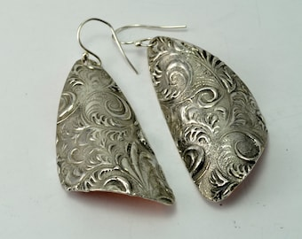 Textured Silver with Brushed Copper Back Earrings