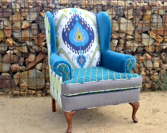 Custom Vintage Upholstered Wingback Chair Upcycled Peacock