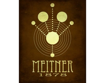 Nuclear Physics 11x14 Lise Meitner Science Art Print, Steampunk Women of Science Poster Rock Star Scientist Physicist - Fission Illustratio