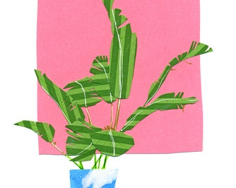 Archival Art Print - House Plant, Pink, Collage, Cut Paper Collage, Collage Art, Whimsical, Modern, Midcentury, Plant Art, Gift for Her