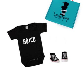 ROCKSTAR BABY KIT abcd black layette, sock booties & optional gift box