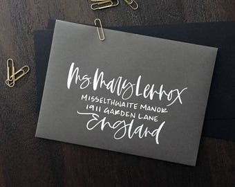 Grey and White Envelopes with Hand Lettering, Hand lettered Envelopes, Wedding Envelopes, Calligraphy Envelopes, Brush Hand Lettering