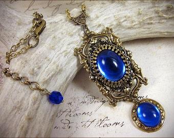 Renaissance Necklace, Sapphire Blue Jewel, Medieval Pendant, Medieval Necklace, Tudor Costume, Renaissance Costume, SCA Garb, Ready to Ship