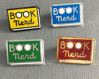 Book Nerd enamel pin - Book enamel pin - Reading Pin - lapel pin - bookish pin - book pin