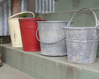 Collection of Vintage Galvanized Metal Buckets