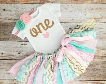 Mint, Pink and Gold Birthday Outfit with Headband, Pink and Mint First Birthday Outfit/Fabric Tutu/Baby Girl