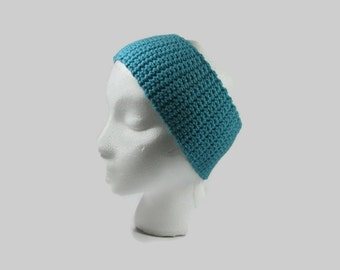 Turquoise Crochet Cotton Ear Warmer One Size Fits Most