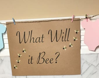 Gender Reveal Boy or Girl Guess, Clothesline, Gender Reveal Game, What Will it Bee, Decor, Girl or Boy Game, Honeybee Clothesline, Bee theme