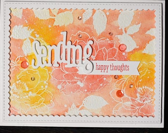 Sending Happy Thoughts Card, Happy Thoughts, Greeting Card, Watercolor Card, Handstamped Watercolor Card, Coral Floral Card,