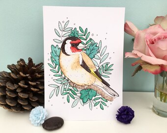 Goldfinch watercolour painting art print A5 A4 sizes bright colourful print for bird lovers nature wildlife art illustration