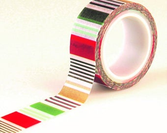 """Echo Park """"Holiday Stripes"""" Decorative Tape 15 Feet """"Deck The Halls"""" Collection Christmas Washi Planner Tags. Gifts"""