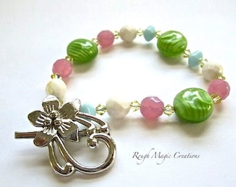 Colorful Spring Bracelet, MultiColor Pastels, Green Pink Blue Yellow, Czech Glass Beads, Swarovski Crystal, Silver Flower Toggle Clasp B210