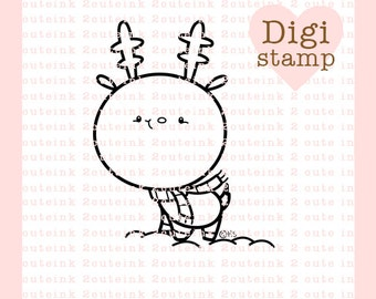 Little Reindeer Digital Stamp Line Art for Card Making, Paper Crafts, Scrapbooking, Hand Embroidery, Jewlery, Coloring Pages