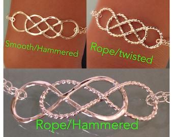Sterling silver double infinity bracelet, Double infinity bracelet, sterling silver layering bracelet