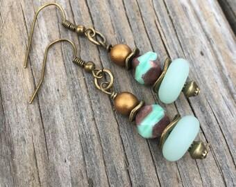 Boho Earrings, Sea glass Earrings, Hippie Earrings, Gypsy Earrings, Dangle Earrings, Unique Earrings